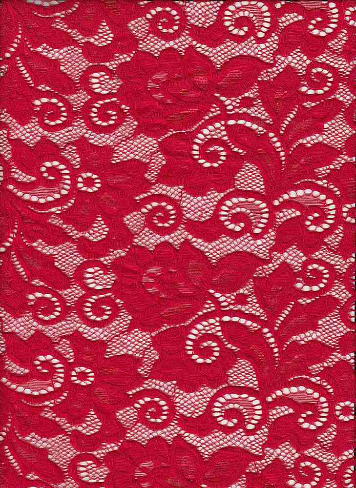 LACE-1138 / RED / 90% Nylon 10% Spn Heavy Lace