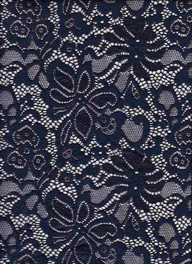 LACE-1141 / NAVY / 95% Nylon 5% Spn Jacquard Lace