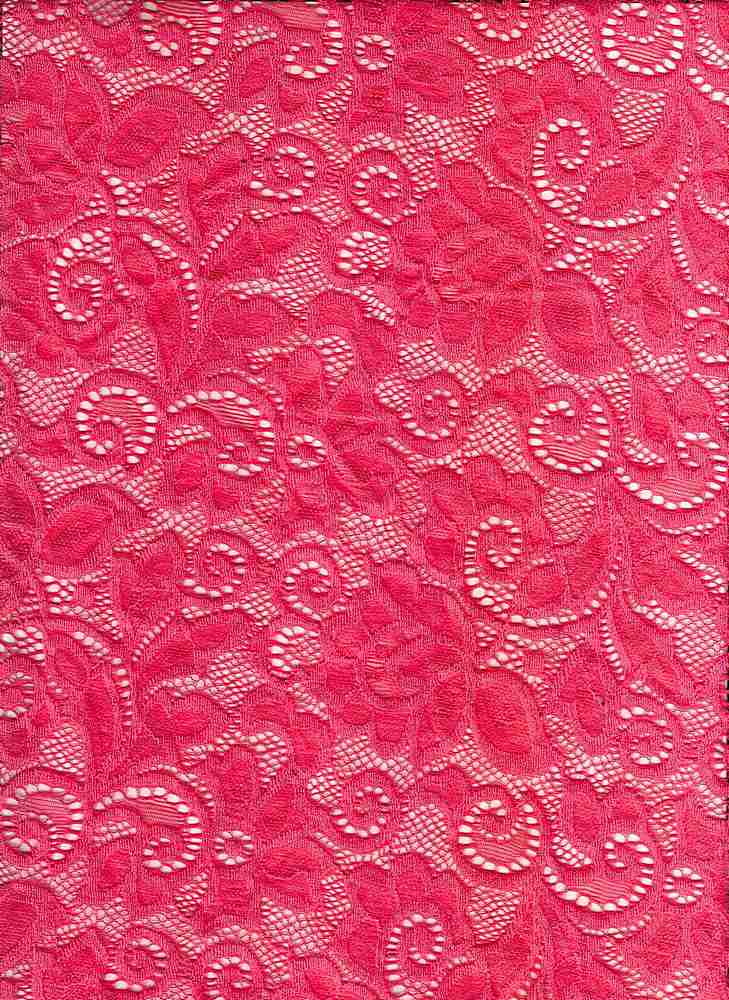 LACE-1138 / CORAL HOT / 90% Nylon 10% Spn Heavy Lace