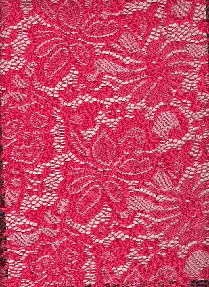 LACE-1141 / CORAL HOT / 95% Nylon 5% Spn Jacquard Lace