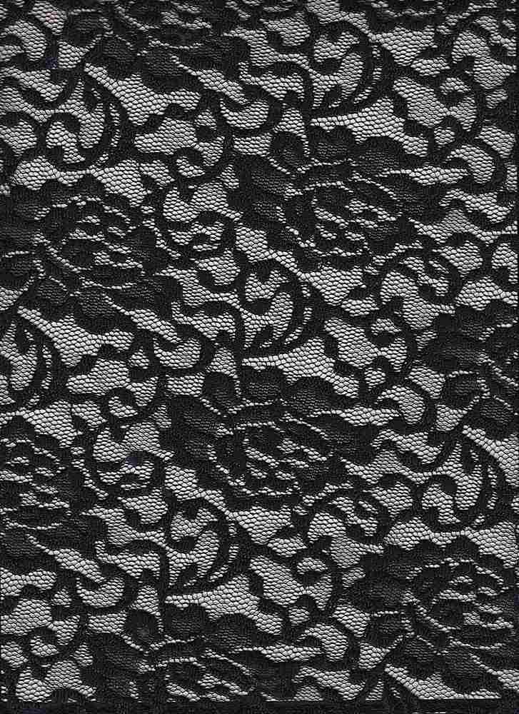 LACE-1148 / BLACK / 95% Poly 5% Spn Floral Lace