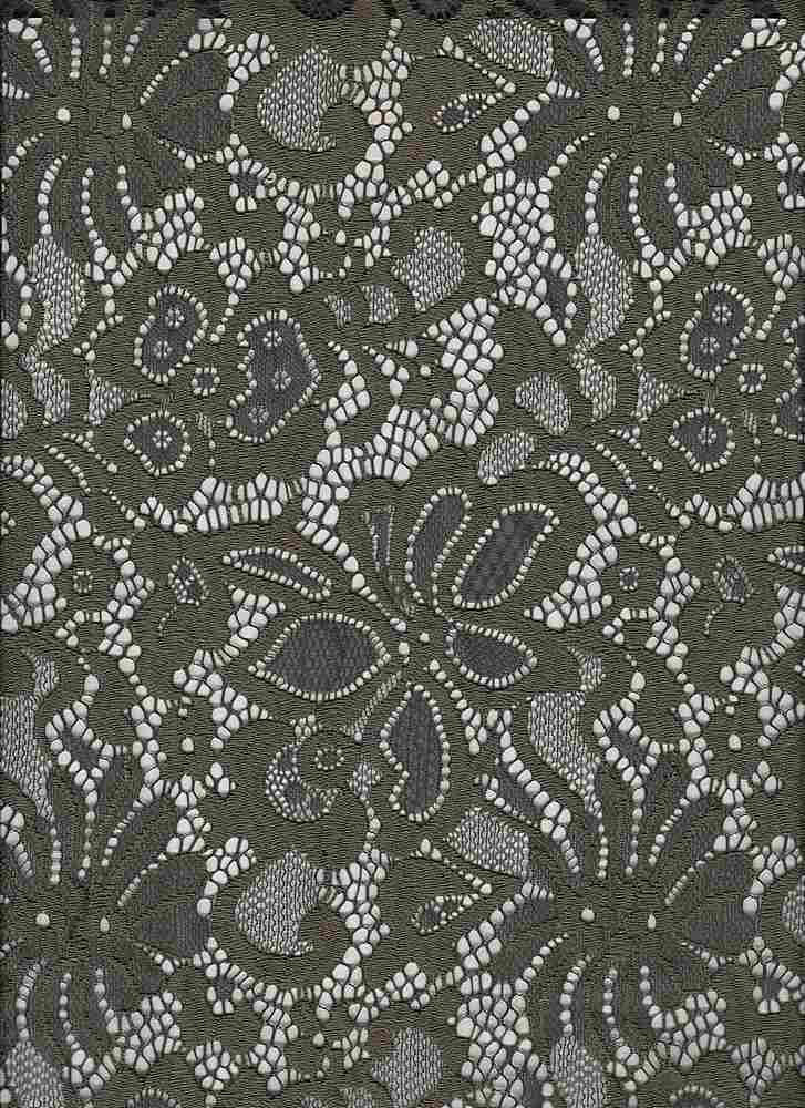 LACE-1141 / OLIVE / 95% Nylon 5% Spn Jacquard Lace