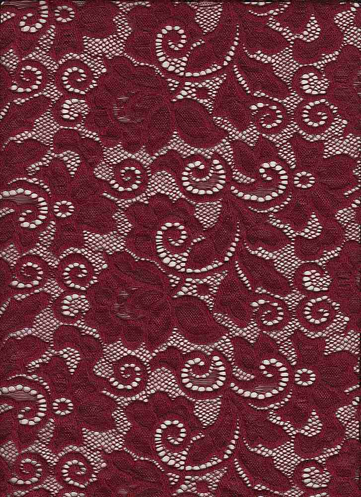LACE-1138 / GARNET / 90% Nylon 10% Spn Heavy Lace