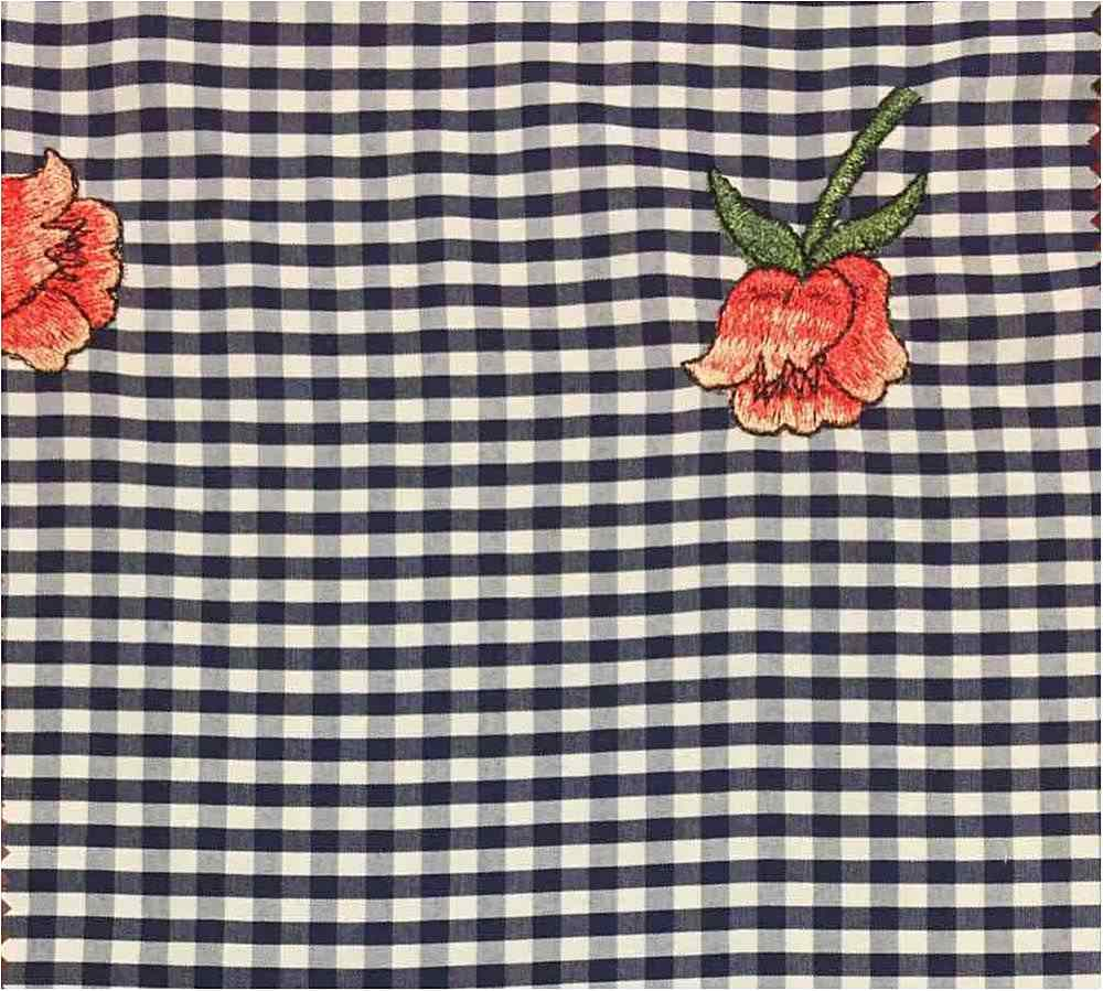EMB-325 / NAVY / Rose Embroidery On Poly Poplin Gignham
