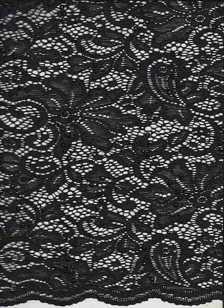 LACE-1168 SEQ / BLACK/BLACK / 95% Nylon 5% Spn Sequence Lace