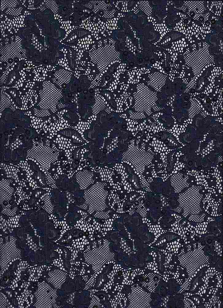 LACE-1169 / NAVY / 95% Nylon 5% Spn Sequence Lace