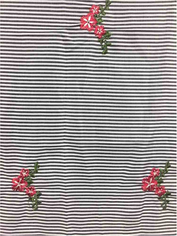 EMB-326 / BLACK / Daisey Embroidery On Cotton Poly Poplin Stripe