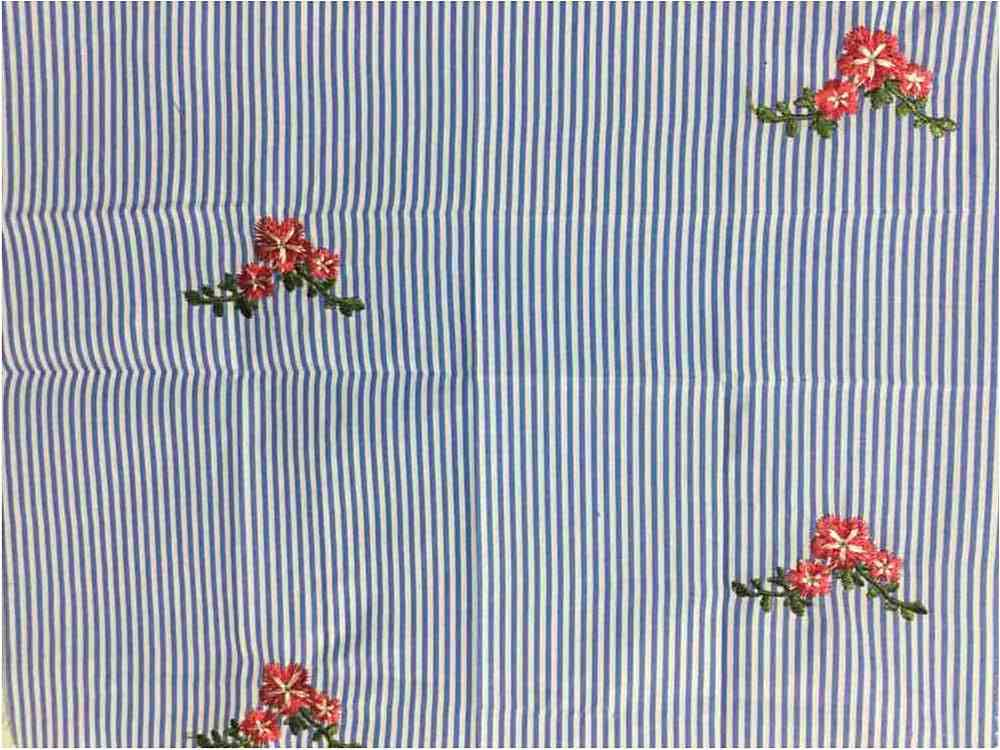 EMB-326 / BLUE / Daisey Embroidery On Cotton Poly Poplin Stripe