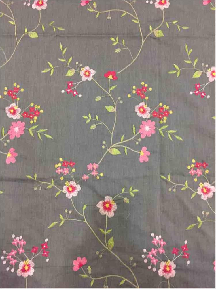 CHAM-329 / SWEET GRAY / 65% Poly 35% Cotton Chambray Embroidery