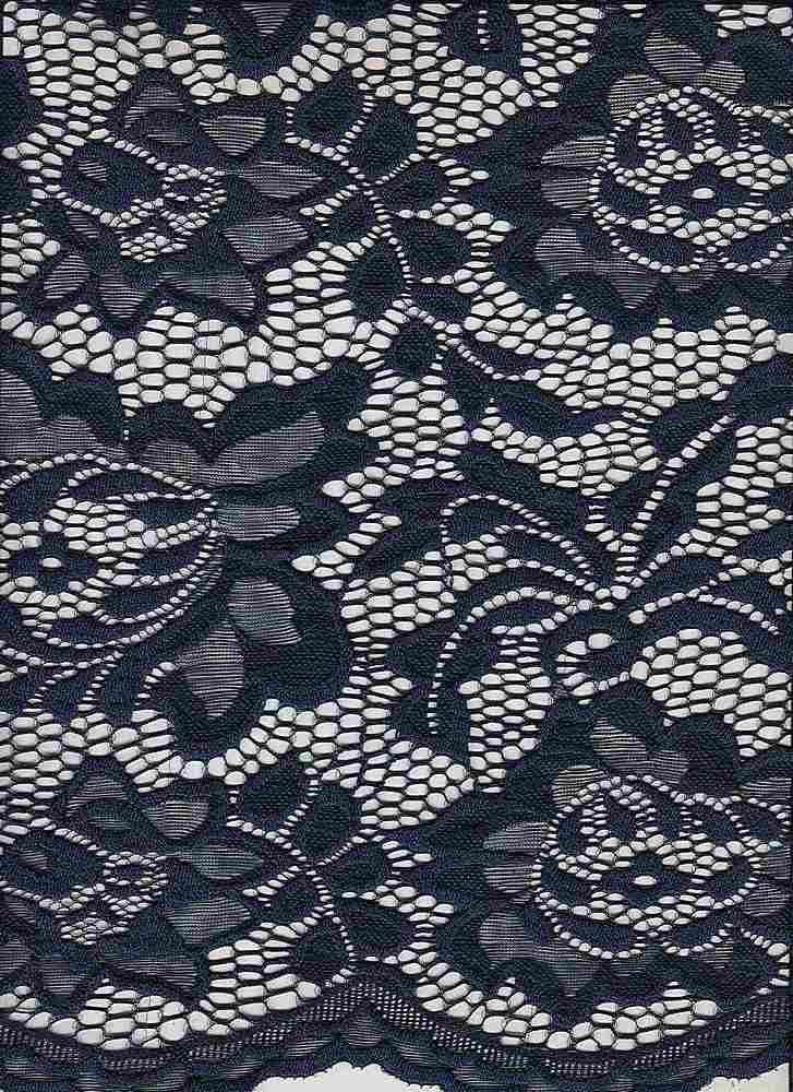 LACE-1170 / NAVY / 95% Nylon 5% Spandex Jacquard Floral Lace Scallop