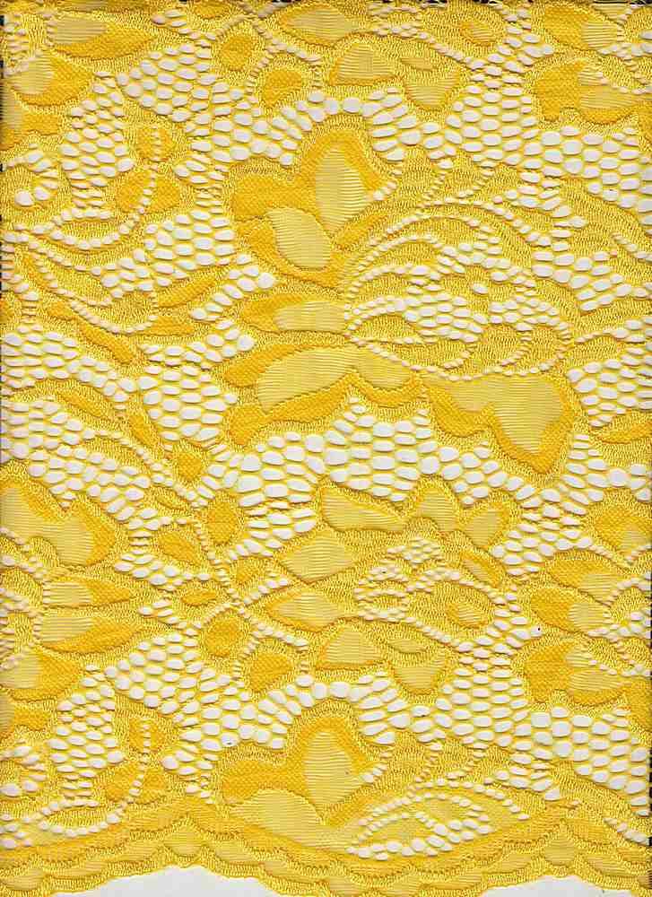 LACE-1170 / YELLOW CHROME / 95% Nylon 5% Spandex Jacquard Floral Lace Scallop