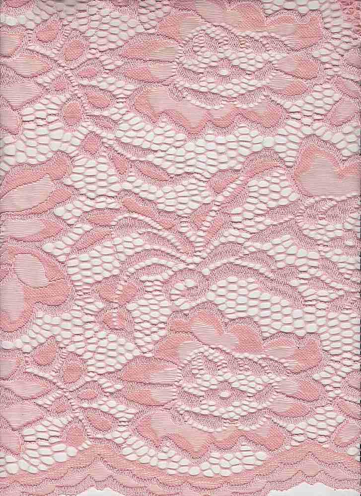 LACE-1170 / BLUSH / 95% Nylon 5% Spandex Jacquard Floral Lace Scallop