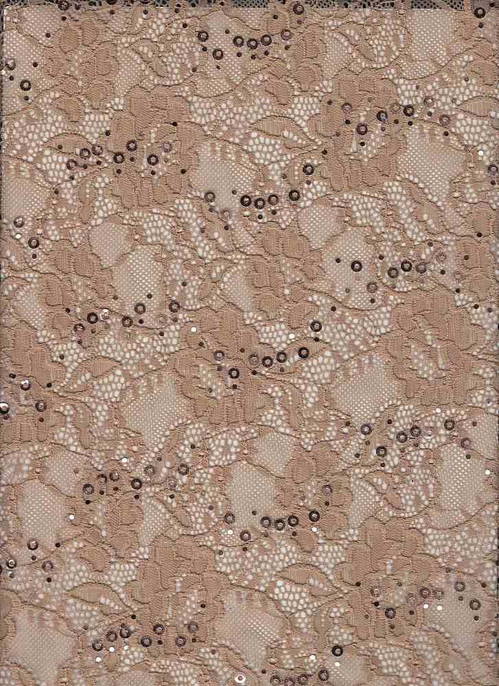 LACE-1169 / TAUPE / 95% Nylon 5% Spn Sequence Lace