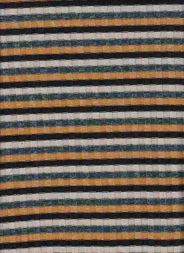RT-1854 / HUNTER/MUSTARD / 79% Rayon 17% Poly 4% Span Multi Color Rib Stripe