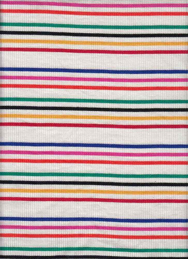 RNJ-2028 / WHITE / 95% Rayon 5% Spn Rib Multi Color Stripes
