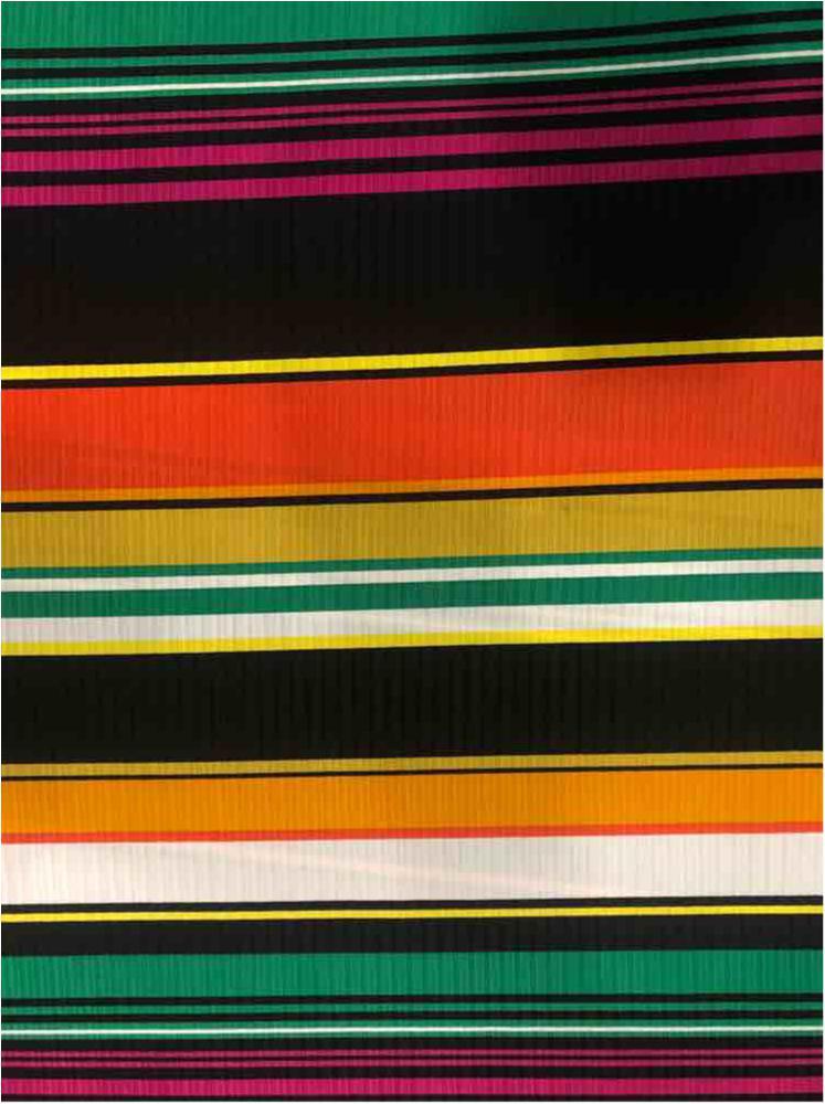CTP-1028 / BLK/CORAL / 95% Poly 5% Spn 8x5 Rib Stripe Print