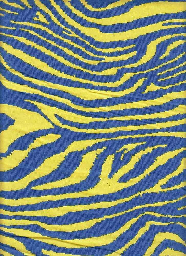 CTP-1033 / ROYAL/YELLOW / 80% Poly 20% Spn Zebra Print