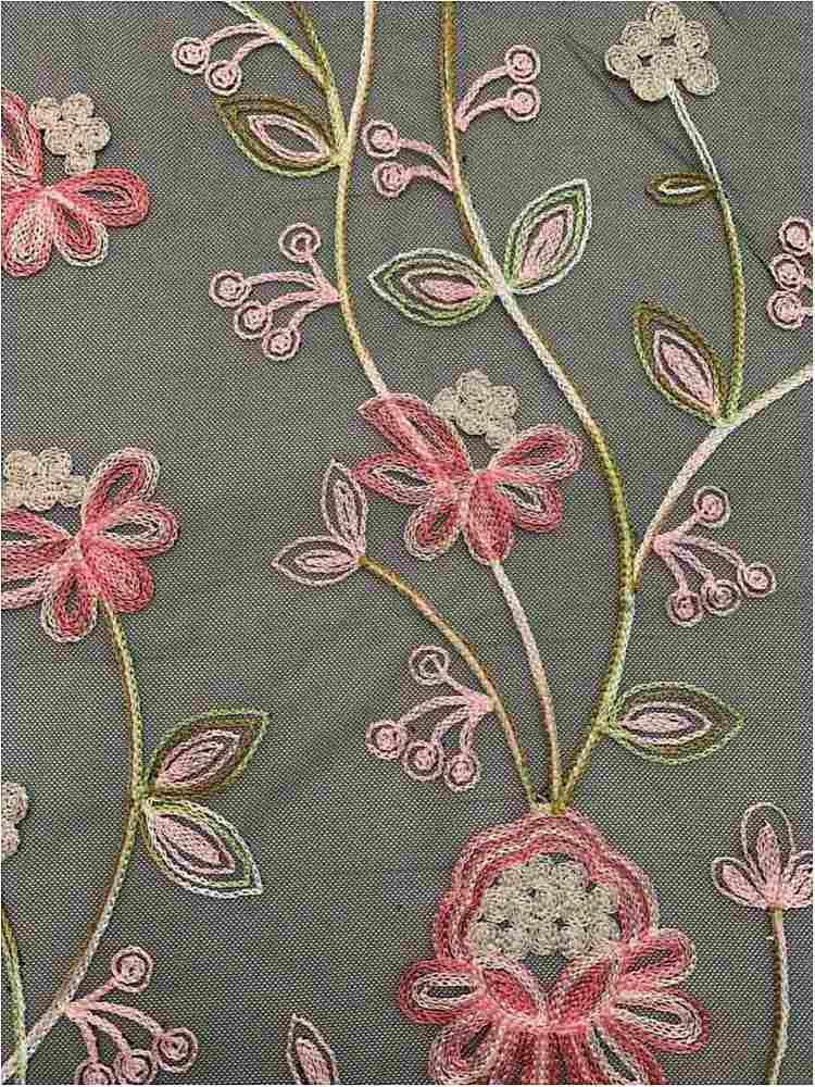 MESH-1158 / PINK / 100% Nylon Embroidered Mesh