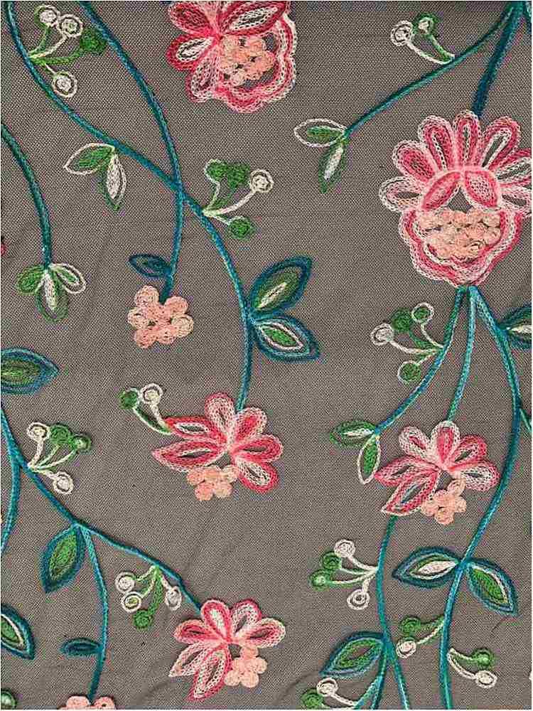 MESH-1158 / JADE/FUCHSIA / 100% Nylon Embroidered Mesh