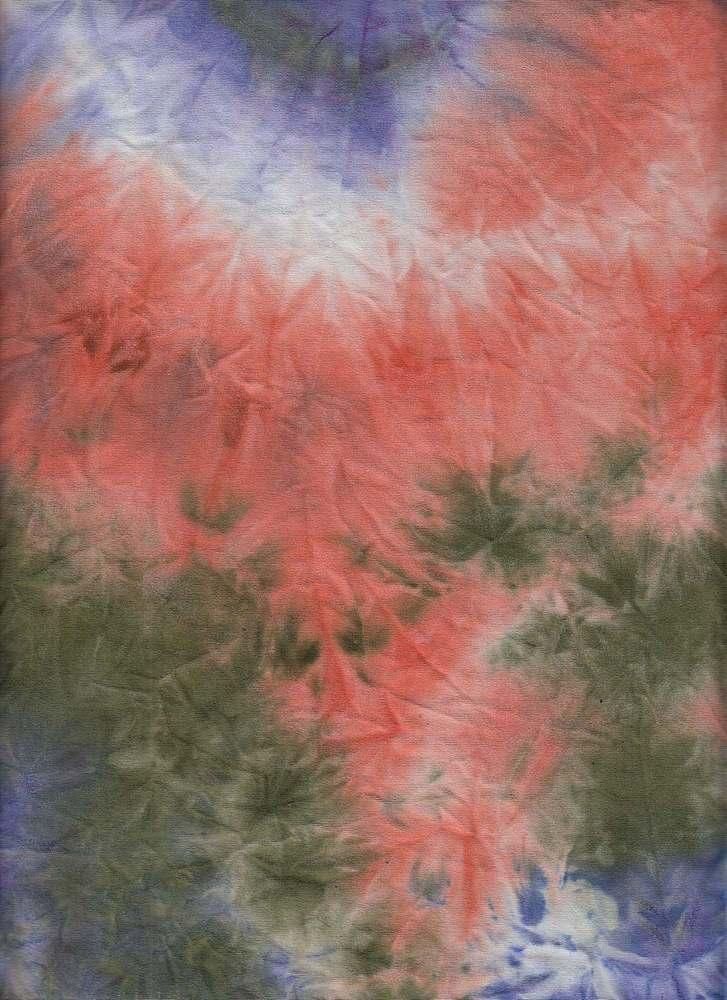 CTP-1034 / ORG/OLIVE/PURP / 95% Poly 5% Spn Dty Brush Tie Dye