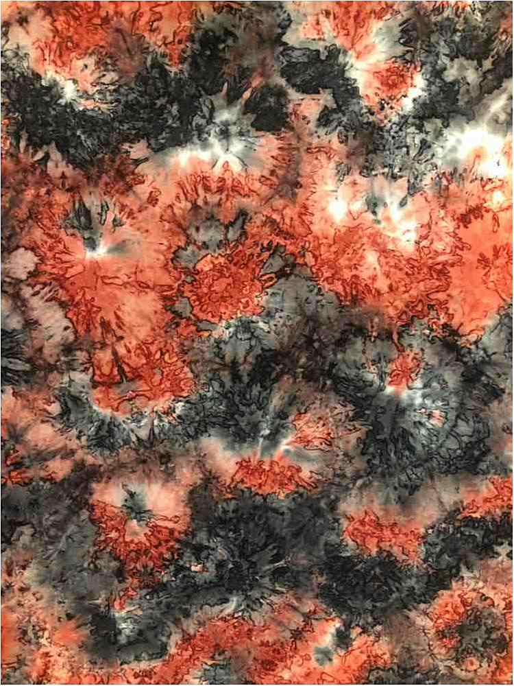 CTP-1040 / CORAL/GRAY / 95/5% Poly Span Brushed DTY Tie Dye