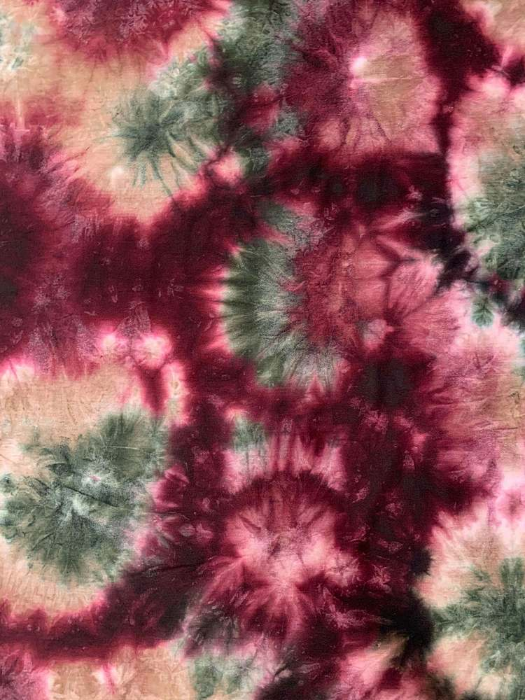 CTP-1042 / OLIVE/BURGANDY / 95% Poly 5% Spn French Terry Tie Dye