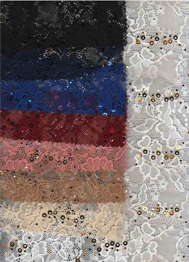 LACE-1169 / IVORY / 95% Nylon 5% Spn Sequence Lace