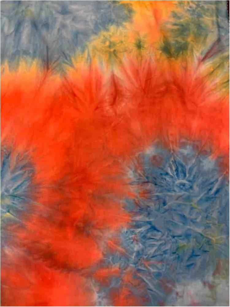 TDB-1055 / BLUE/CORAL / 95% Poly 5% Spn Dty Brushed Tie Dye