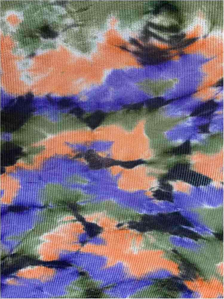 TDM-1057 / OLIVE/ORANGE / 93%Poly 3%Span Kan Kan Mesh Tie Dye.