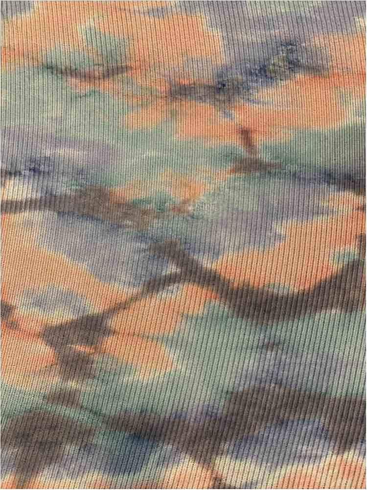 TDM-1057 / CORAL/MINT / 93%Poly 3%Span Kan Kan Mesh Tie Dye.