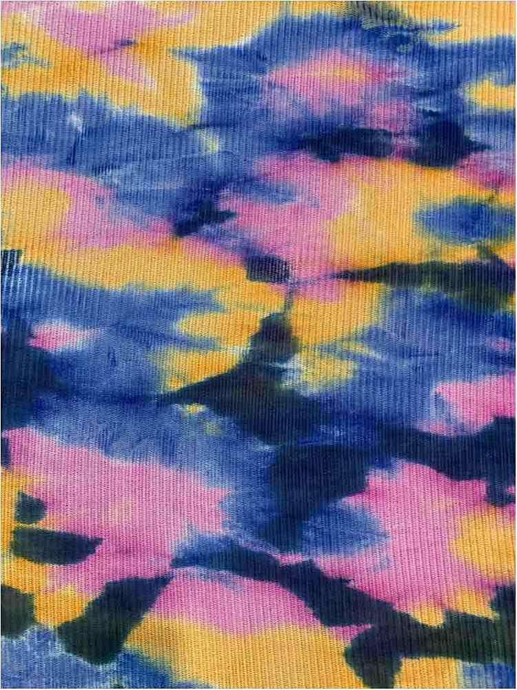 TDM-1057 / NAVY/YELLOW / 93%Poly 3%Span Kan Kan Mesh Tie Dye.