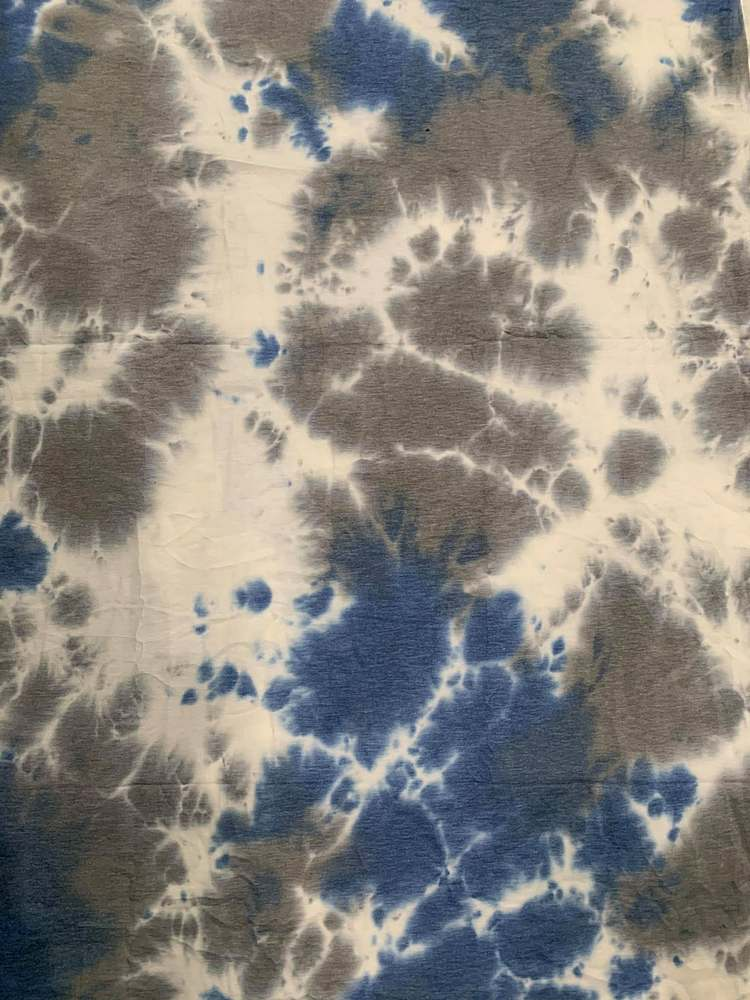 CTD-1062 FT / BLUE / 70%Poly 26%Rayon 4%Span Tie Dye French Terry