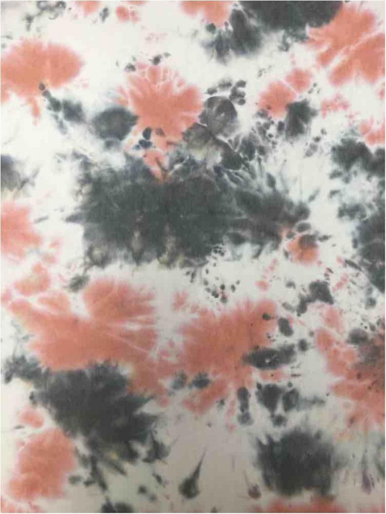 CTD-1062 FT / PEACH / 70%Poly 26%Rayon 4%Span Tie Dye French Terry