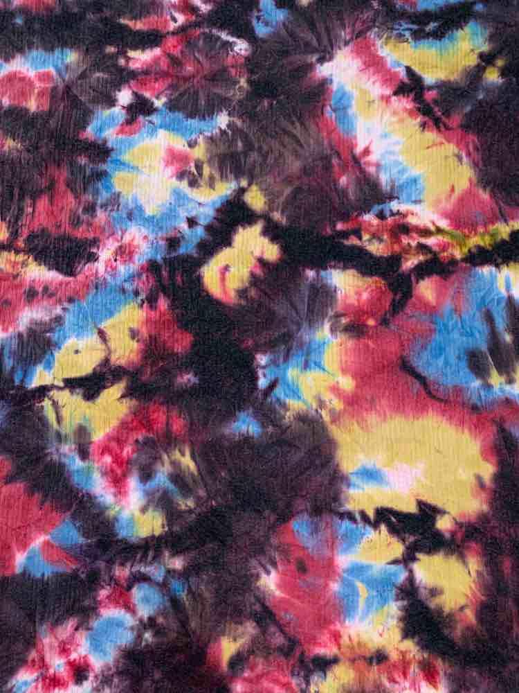 CTP-1076 RIB / BURGANDY/TEAL / 89% Poly 8% Rayon 3% Spandex Rib Tie Dye